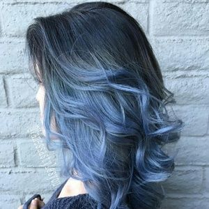 """28"""" Blue and Black Ombre Wig"""